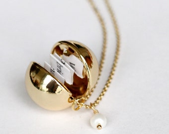 bridesmaid gifts jewelry, Friendship Golden Ball Locket Necklaces, Secret Message Necklaces,  Personalized message, girlfriend, wedding gift