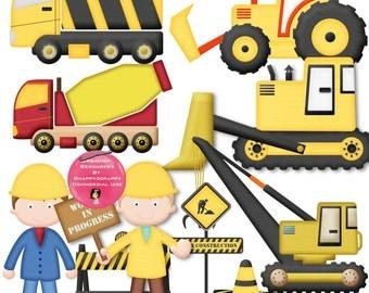 Workmen Clipart, Construction Men Clipart Set, Commercial Use, Men At Work Clipart Kit,
