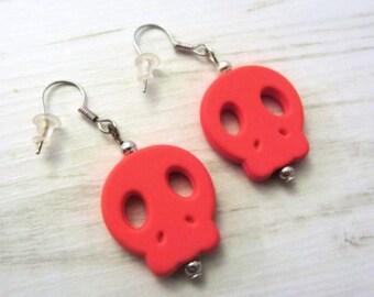 Orange skull earrings, orange earing, wire, skulls, skull