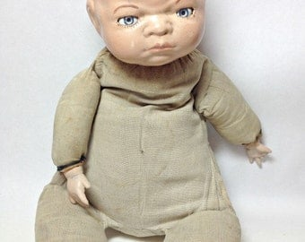 Antique GRACE Storey PUTNAM Bye Lo Baby Doll Cloth Body Vintage Toy