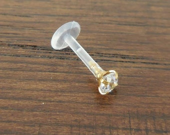 NEW 16G 8mm Bioflex 14K Gold Plated Prong Set Clear Cubic Zirconia Labret Lip Tragus Cartilage Ear Ring