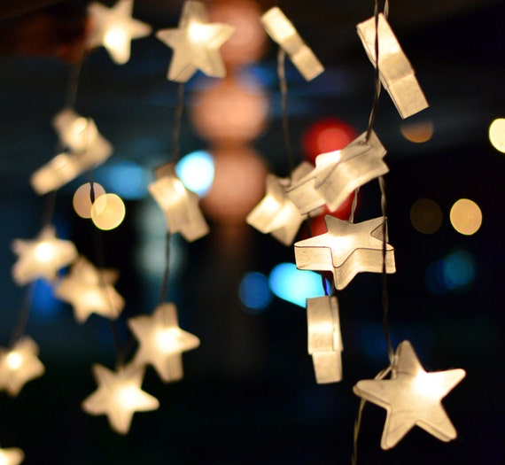 20 White Star Lantern String Lights for Decor by leelavadeelights