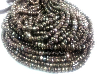4 mm, 13.5 inches Mystic Copper Gold Coated Black Spinel Beads