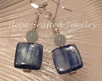 Kyanite, Aquamarine & Pearl Earrings (E046KAqP)
