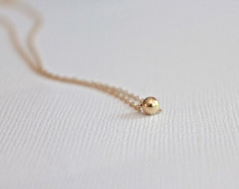 Dainty 14K gold filled ball necklace minimalist ball pendant layering chocker necklace personalized everyday simple gold necklace NE4