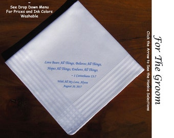 Grooms Gift Handkerchief From Bride 0712 Sign & Date Free  2 Wedding Hankie Styles and 8 Ink Colors. Grooms Wedding Handkerchief from Bride