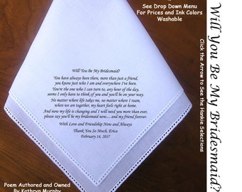 Bridesmaid Gift Handkerchief  0909~ Will You Be My Bridesmaid? 5 Wedding Hankie Styles ~ Sign & Date for Free! 8 Ink Colors