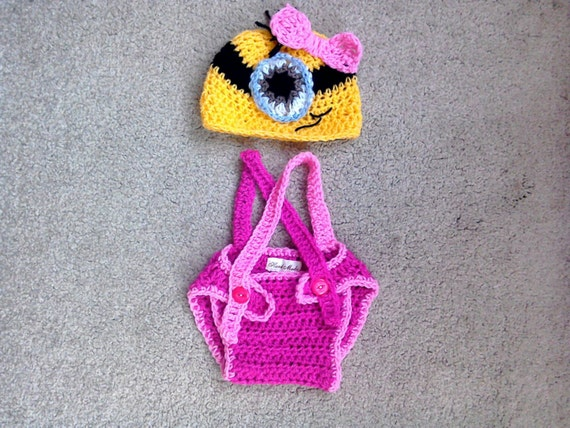 Crochet Patterns For Baby Overalls : Baby girl Minion outfit hand crocheted by HandKnittedToysJo