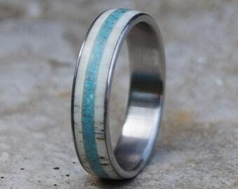 Antler Ring, Antler Band, Turquoise Ring, Stainless Steel Ring, Wedding Ring
