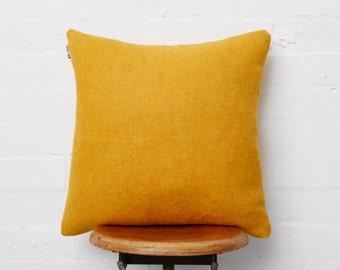The original Reloved Upholstery mustard Harris tweed cushion