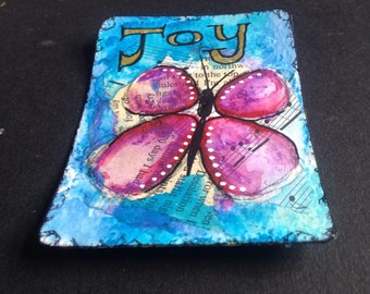 Original Painting ATC ACEO Art Card Butterfly Inspirational - Made to Order
