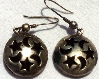 """Vintage Sterling Stars and Moon """"Perfume"""" Earrings"""