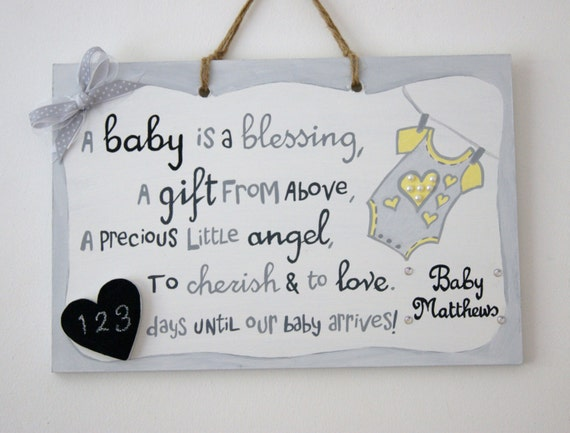 Baby Gifts For Hippie Parents : Items similar to baby countdown plaque gift for parents