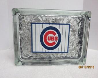 Chicago Cubs Glass Block Light