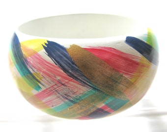 Bangle bracelet, painted wood bracelet, multicolor, abstract brushwork