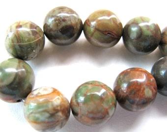 Sierra Agate, 20 beads, earthy colors, 10mm - #140