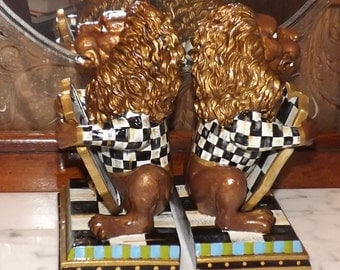 Black & White Check Whimsical Lion Bookends Hand Painted Book Ends