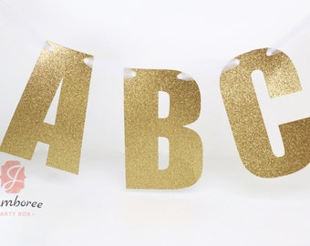"""8"""" or 3"""" CUSTOM WORD Glitter Banner- Custom Word Banner- Number Banner- Gold Glitter Name Custom Glitter Prop, Glitter Letters, ABC Letter B"""
