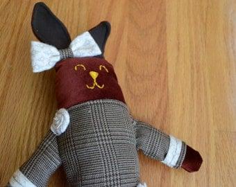 "Stuffed Bunny - ""Velveteen Bunny"" (baby gift, newborn toy, plush rabbit, stuffed lovie, plush lovey, plushie, handmade gift, soft baby toy)"