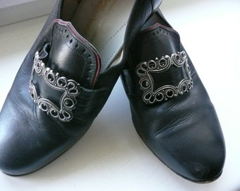 Klaveness genuine leather black womens shoes made in NORWAY sz 4 1/2