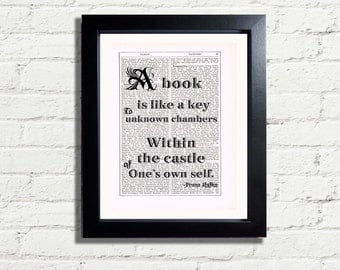 A Book Is Like A Key to unknown chambers within castle of self Franz Kafka Inspirational Quote INSTANT DIGITAL DOWNLOAD A4 Printable Pdf