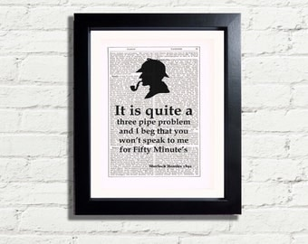 Sherlock Holmes 3 Pipe Problem Classic Quotation Wall Hanging, Art Print INSTANT DIGITAL DOWNLOAD A4 Printable image fun Artwork Ideal Gift