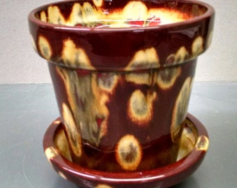 Jungle Fire Herb Pot And Tray--Hand-Painted--Glazed Ceramic Bisque--Home-Patio-Garden Decor--Seasonal-Year Round Usage