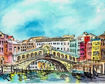 Rialto Bridge, Venice Italy Venezia. - Giclee Print of Original Watercolour and Pen Drawing by English Artist Claire Strickland