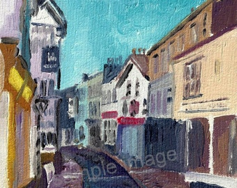 Sedbergh Main Street, The Lake District, Cumbria. - Giclee Print of Original Oil Painting by English Artist Claire Strickland