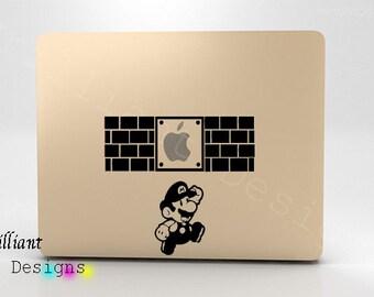Super Mario, Super Mario Bros. Decal, Macbook Decal Macbook Sticker Mac Decal Mac Sticker,Decal for Apple Laptop Macbook Pro, Gift, Geekery