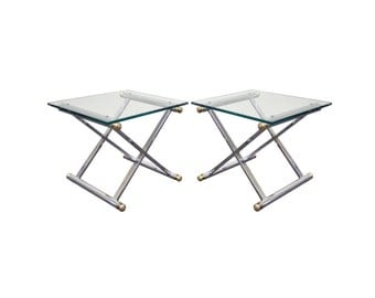 Pair of Vintage Mid Century Modern Hollywood Regency Chrome & Brass X Form Side Tables