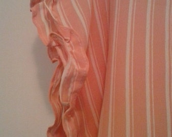 Vintage Peach and Cream Striped TOP with Frilly Ruffles on the Sleeves - Vintage Style 'Whipped Cream' Fabric