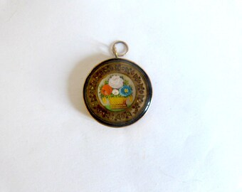 Antique  miniature pendant made in 14k solid gold and hand painted both sides