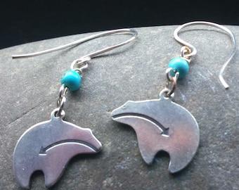 Sterling Silver Zuni Heart Line Bear Earrings