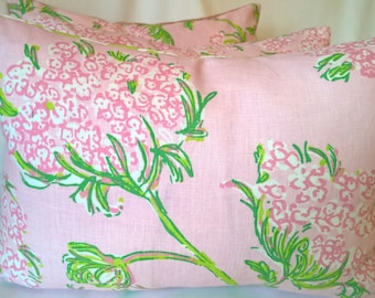 Lilly Pulitzer for Lee Jofa Racy Lacey Pink & Shell We Linen Throw Pillow, Decorative Pillow