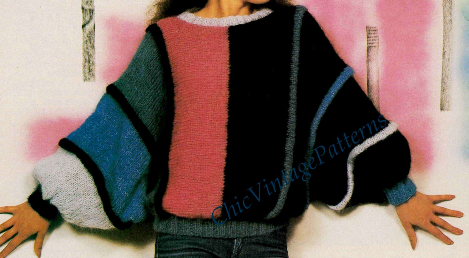 Batwing Knitting Pattern : Knitted Sweater ... Ladies Batwing Sleeve Jumper ... Casual