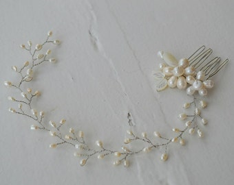 Ivory Freshwater Pearl Bridal Headpiece, bridal headpiece, bridal hair comb, bridal vine, bridal hair comb, wedding hair comb, hair vine