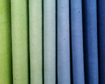 "Hand dyed cotton fat quarters for quilting, gradation of blue to greens, ""Tourmaline"""