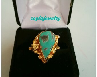Handmade Oxidized Sterling Silver Turquoise Ring