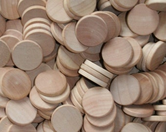 """Natural Unfinished Wood Circle Discs 3/4"""""""