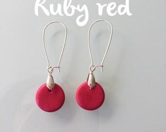 Drop earrings. Long round red earrings. Polymer clay dangle earrings. Jewellery for her.
