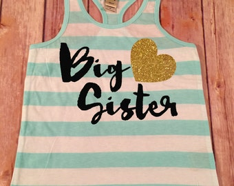 Big Sister Shirt Big Sister Tank Big Sis Shirt Personalized Shirt Sibling Sister Shirt Pregnancy Announcement Baby Announcement Shirt