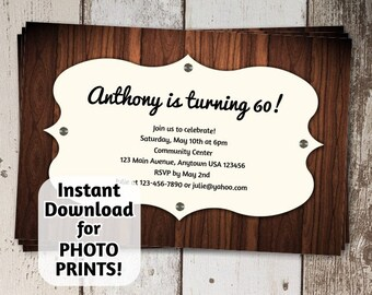 Men's 60th Birthday Party Invitation - classy wood - digital file - photo prints / card stock invite - 21st 30th 40th 50th 70th 80th 90th