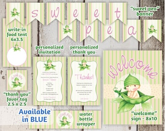 Girl / Boy Sweet Pea Baby Shower Invitation Party Package / Pack / Set / Supplies - Easy Printables!