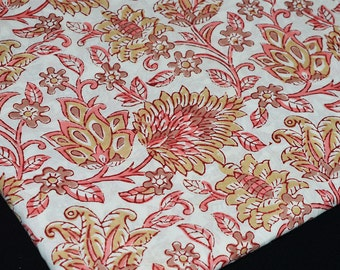 Block Printed Cotton Fabric - Soft Cotton by yard - Hand Printed Fabric in Pink and Yellow on white background.