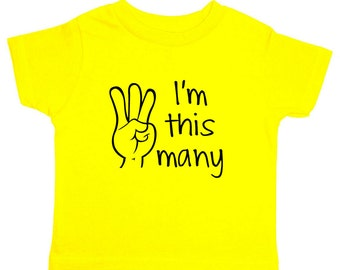 I'm This Many Three Toddler Shirt I'm this many 3 T-Shirt Children Turning 3 Birthday Gift for 3 Year Old Birthday Gift Idea