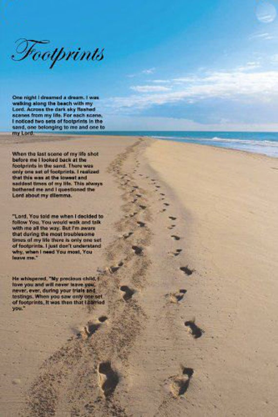 This is a graphic of Sassy Footprints in the Sand Poem Printable