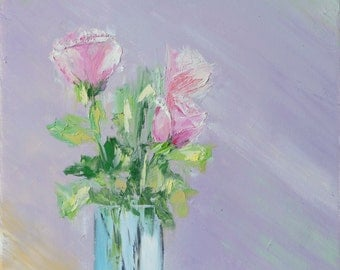 Oil painting of roses, pink flowers,  floral textured green abstract purple home decor palette knife thick  signed FREE US SHIPPING