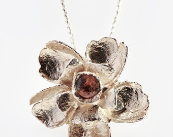 Flower Necklace, Silver Floral Pendent,Tourmaline Silver Necklace,Big Charm Flower Necklace,Flower Pendent