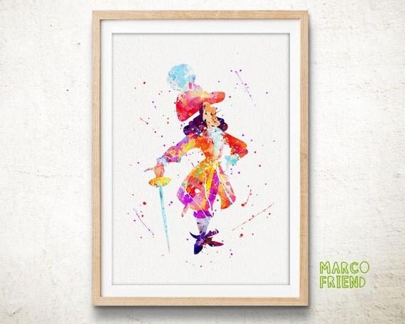 Peter Pan Captain Hook Watercolor Art Print Home By